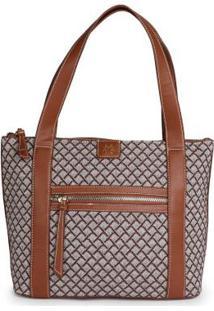 Bolsa Shopping Bag Ana Hickmann Jacquard Marrom Marrom