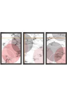 Quadro 75X150Cm Escandinavo Oslo Moldura Preta Com Vidro Decorativo