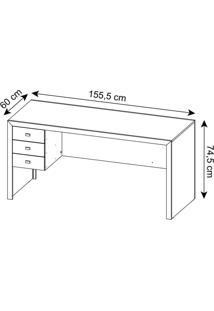 Mesa Para Escritório Com 3 Gavetas Me4113 Tecno Mobili Branco