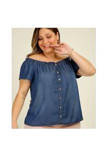 Blusa Plus Size Feminina Ciganinha Jeans Botões