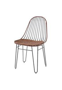 Cadeira Invisi Assento E Trama Couro Natural Caramelo Base Preta 45 Cm (Larg) - 41430 Caramelo