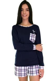 Pijama Longo Marétoa Xadrez Sereia - Feminino