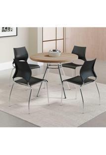 Cadeira Cromada Carraro Móveis Melissa - Conjunto Com 02 Unidades Preto