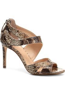 Sandália Couro Shoestock Salto Alto Ondas Feminina - Feminino-Cobra