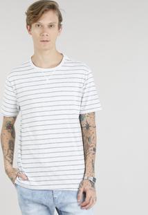 Camiseta Masculina Básica Listrada Manga Curta Gola Careca Cinza Mescla Claro
