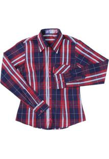 Camisa Xadrez Feminina Rodeo Western - Feminino-Azul Escuro