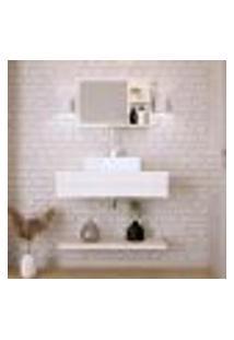 Conjunto Para Banheiro Bancada Com Cuba Q39 Quadrada, Prateleira E Espelheira City 806 Snow