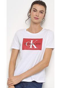 Camiseta Calvin Klein Básica Estampa Logo Feminina - Feminino-Branco