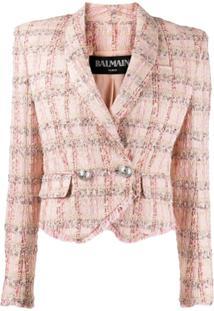 Balmain Blazer De Tweed Com Abotoamento Duplo - Rosa