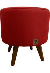 Puff Pé Palito Redondo Alce Couch Veludo Vermelho 40Cm
