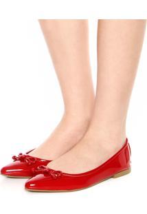 Sapatilha Dafiti Shoes Verniz Laço Vermelha