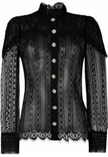 Dolce & Gabbana Blusa Com Recorte De Renda - Preto