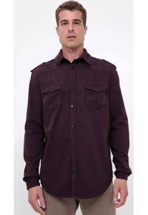 Camisa Comfort Com Bolso Em Sarja
