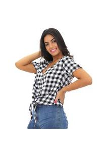 Camisa Blusa Xadrez Flanela Feminina Manga Curta Com Laço