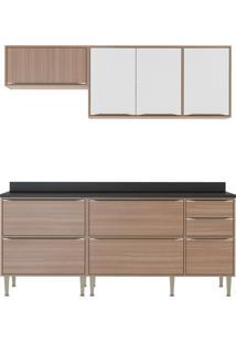Cozinha Compacta 5 Peças 7 Portas Calábria Nogueira E Branco Multimóveis