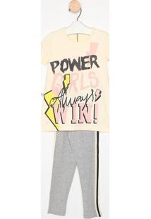 "Conjunto De Blusa ""Power Girls"" + Legging - Bege Claro &Mylu"