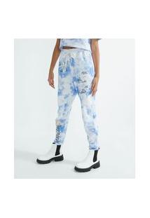 Calça Jogger Em Moletom Tie Dye E Estampa Anjos   Blue Steel   Azul   P