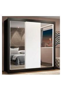 Guarda-Roupa Casal Madesa Lyon Plus 3 Portas De Correr Com Espelhos 4 Gavetas Preto/Branco Branco