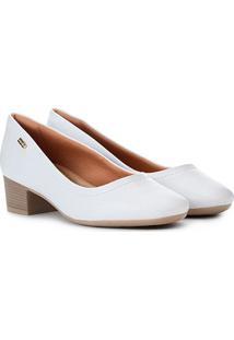 Scarpin Comfortflex Salto Baixo Básico Liso - Feminino-Branco