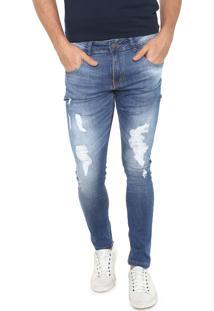 Calça Jeans Rock&Soda Slim Destroyed Azul