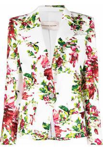 Alexandre Vauthier Blazer Com Estampa Floral - Branco