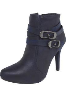 Ankle Boot Crysalis Fivelas Azul-Marinho