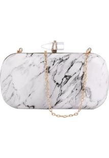Bolsa Clutch Liage Efeito Pedra Marmore Cristal Strass Metal Alça Alcinha Dourada Branca - Kanui