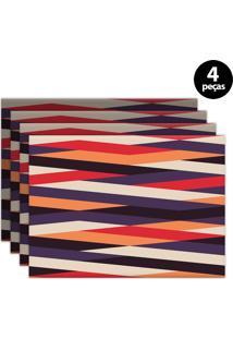 Kit 4Pçs Jogo Americano Mdecor Abstrato 40X28Cm Roxo