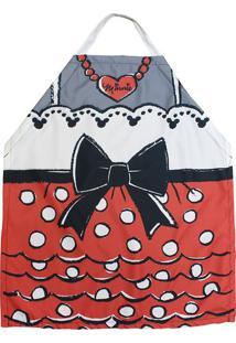 Avental Minnie® - Vermelho & Branco - 75X60Cm - Zona Criativa