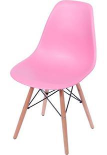 Cadeira Eames Polipropileno Rosa Pink Base Madeira - 36753 - Sun House