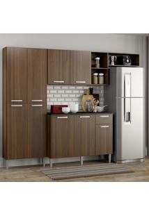 Cozinha Compacta Pequim 9 Portas Mp2933 Multimóveis Carvalho Avelã Marrom