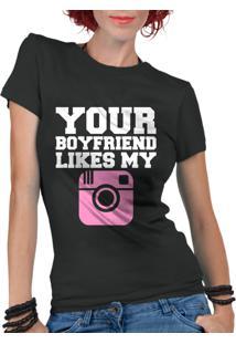 Camiseta Criativa Urbana Frases Engraçadas Your Boyfriend Preto