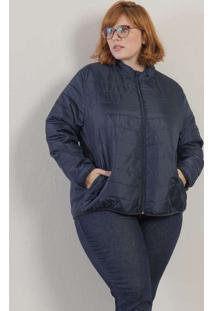 Jaqueta Básica Acolchoada Plus Size Marinho-G Azul