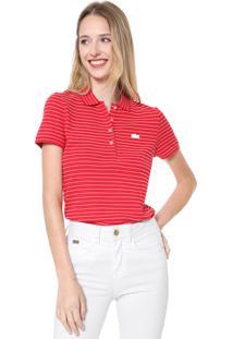 Camisa Polo Lacoste Slim Listrada Vermelha