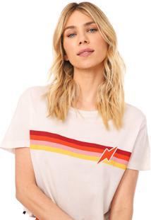 Camiseta Cropped Cantão Listras Vintage Off-White/Vermelha