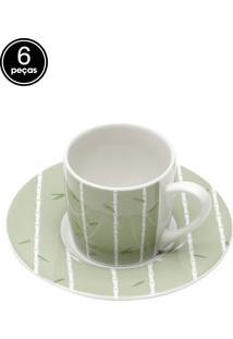 Conjunto 6Pçs Xícaras De Porcelana Para Café Com Pires Bambu 90Ml Bon Gourmet