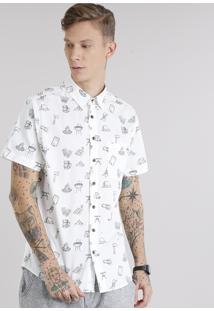 Camisa Masculina Estampada Com Bolso Manga Curta Off White