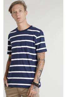 Camiseta Masculina Listrada Manga Curta Gola Careca Azul Marinho