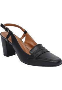 Sapato Chanel Em Couro Com Vazado- Preto- Salto: 7Cmle Rossi