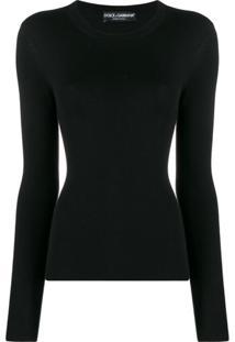 Dolce & Gabbana Blusa Canelada Slim Com Mangas Longas - Preto