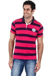 Camisa Polo Listrada Masculina Urbany - Pink