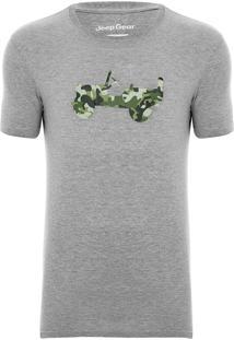 Camiseta Jeep Camuflada Willys Military Jungle Cinza Mescla
