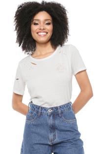 Camiseta Lez A Lez Destroyed Bordado Off-White
