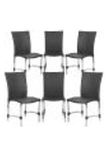 Cadeiras 6Un Para Area Varanda Fibra Sintetica Sala Cozinha Jardim Sacada Florida - Preto