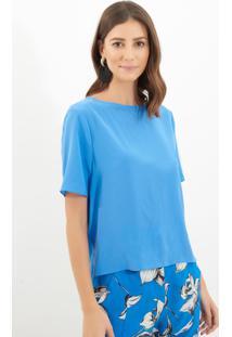 Blusa Le Lis Blanc Mica 10 Seda Azul Feminina (Fontaine, Gg)