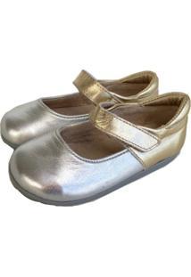 Sapato Babo Uabu Mary Jane Bicolor Prata/Ouro