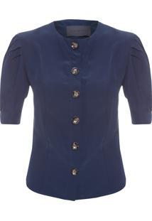 Blusa Feminina Silk Bottons - Azul