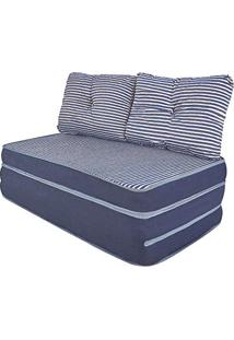 Puff Multiuso 3 Em 1 Casal Jacquard Azul + Travesseiro