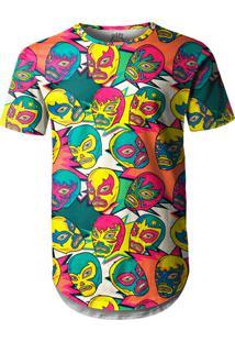 Camiseta Longline Over Fame Lucha Libre Mexicana Multicolorido