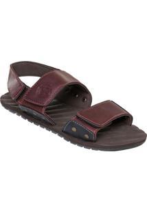 Sandália Bordô Com Fechamentos Em Velcro